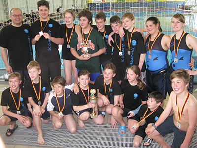 Wasserball-Mannschaft Teamfoto Jugend nach Wettbewerb